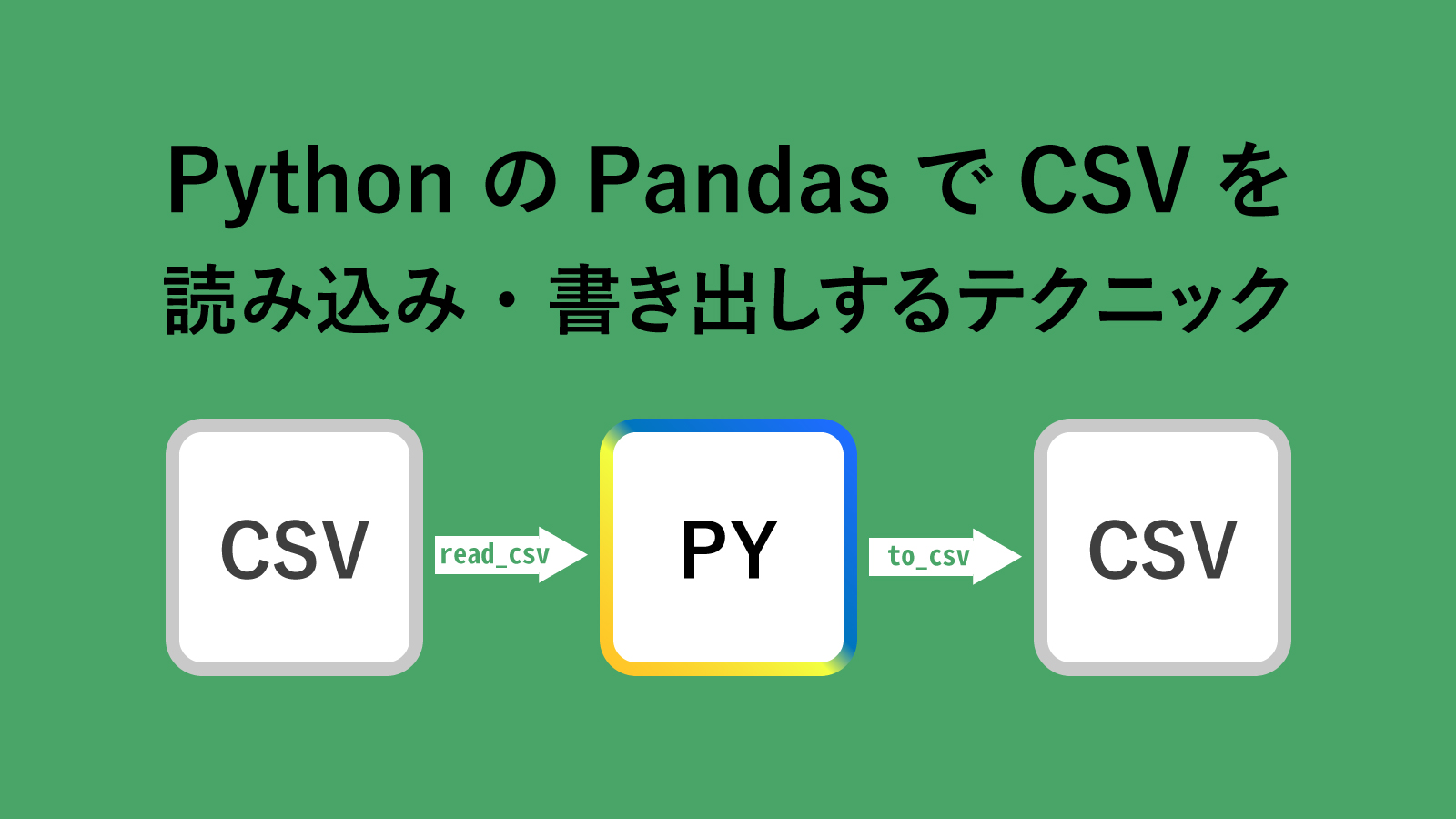 【Python】PandasでCSVファイルを読み込み/書き出しする実践テクニック集