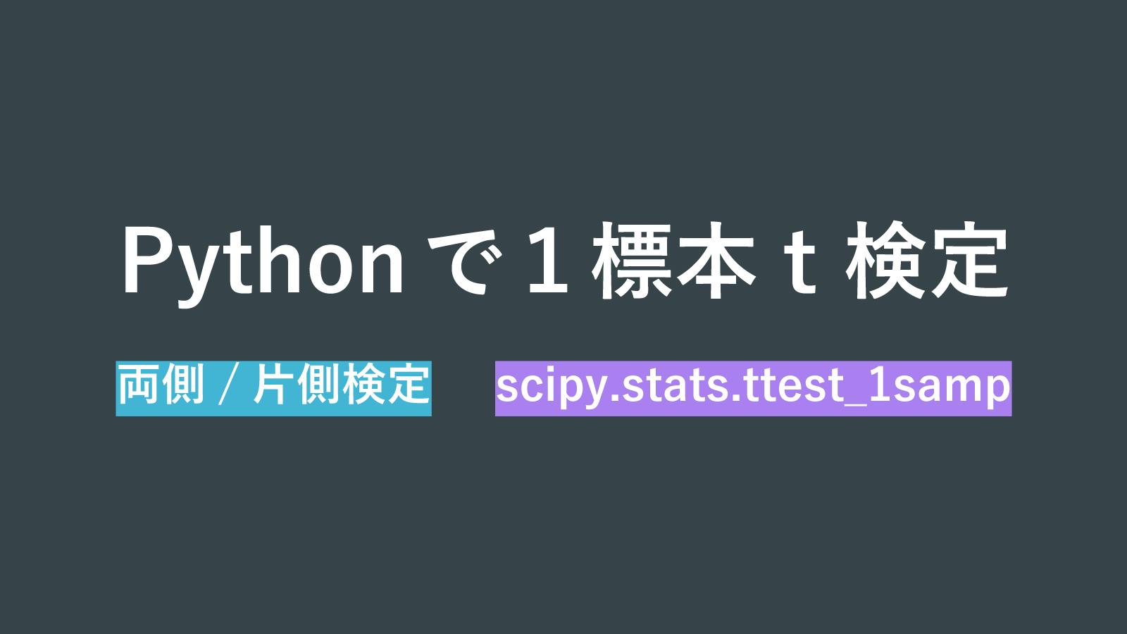 Pythonのttest_1sampで1標本t検定(両側/片側検定)を行う方法